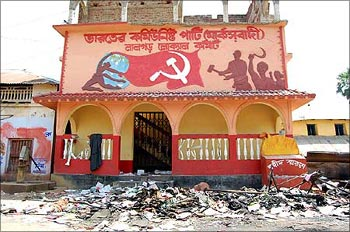 A ransacked CPI-M office in Lalgarh