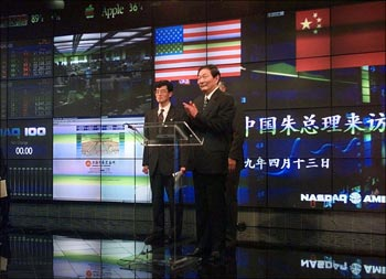 Chinese Premier Zhu Rongji at the Nasdaq in New York.