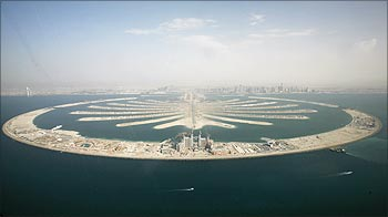 An aerial view of the man-made palm tree-shaped islands in Dubai.