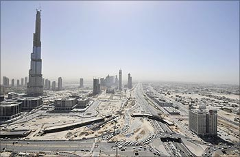 The world's tallest tower Burj Dubai stands on Sheikh Zayed Road in Dubai.