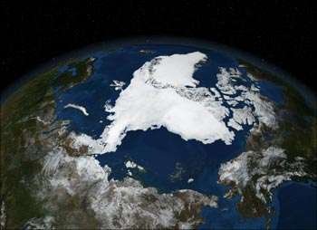 A NASA satellite image shows Arctic summer sea ice.