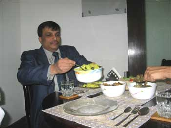 Farid Arifuddin enjoys a meal.