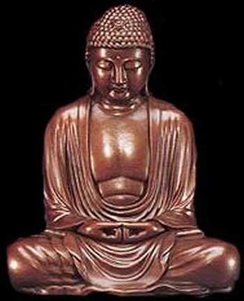 A bronze statue of Lord Budhha.