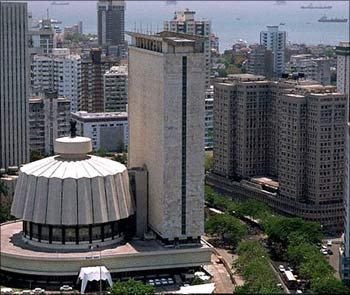 The State Assembly House in Mumbai in the forefront of the city's skyline.