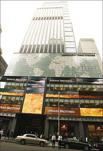 The Lehman Brothers headquarters in New York in September 2008.
