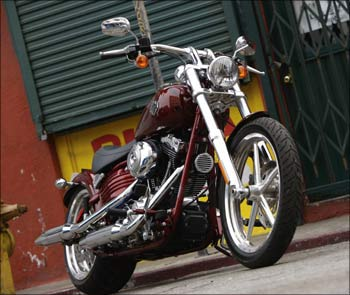 A classic Harley-Davidson motorcycle.