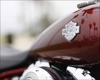 The iconic Harley-Davidson logo on a motorcycle.