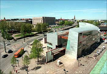 General view of Finland's museum of modern art, 'Kiasma' in Helsinki.