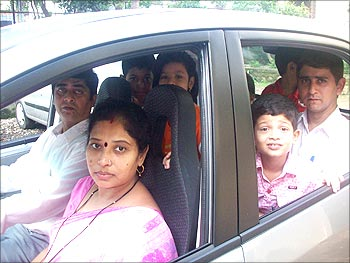 Arun and family in the Nano.