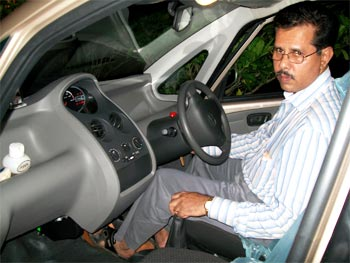 Anil Abraham in his new Nano.
