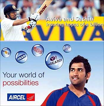 Cricketer Mahendra Singh Dhoni in an Aircel ad.