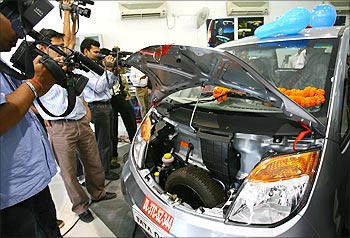Tata Nano at a showroom in New Delhi.