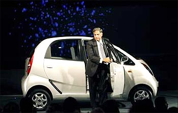 Tata Group Chairman Ratan Tata steps out from the Nano.