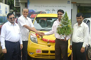 Sumit Sukumar with his Nano.