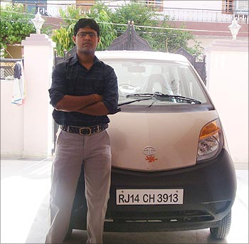 Nikhil Natani with his Nano.