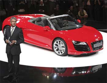 Audi chief executive Rupert Stadler presents the new R8 Spyder.