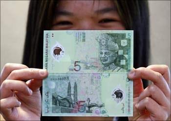 A Malaysian five ringgit polymer note.