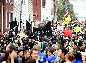 Demonstrators march during a protest prior to the start of the G20 Pittsburgh Summit in Pittsburgh.