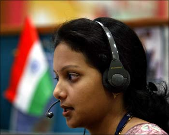 An Indian BPO worker.