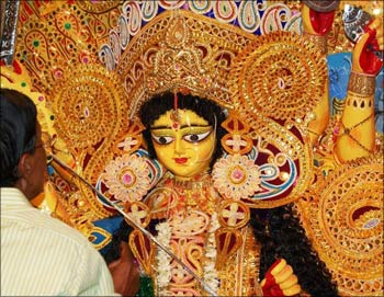 The Goddess Durga idol at Pranab Mukherjee's ancestral home.