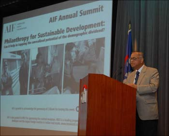 N R Narayana Murthy, chairman and chief mentor Infosys, speaking at the AIF Annual Summit in New York on Monday.