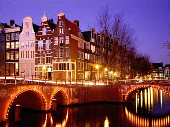 Amsterdam at night.