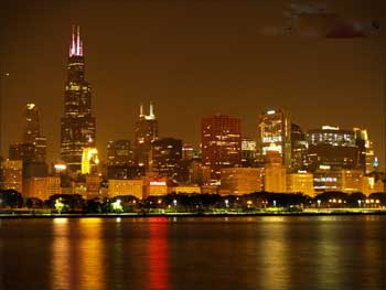 The night skyline of Chicago.