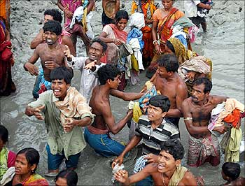 Cyclone Aila-affected people at the Sunderbans.