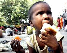 A child eats bread
