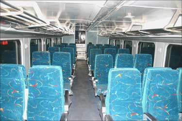 Interior of the double decker coach.