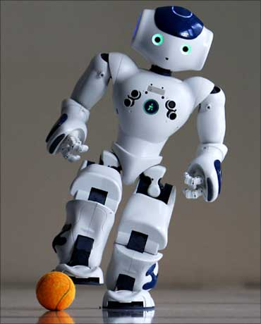 A robot soccer player.