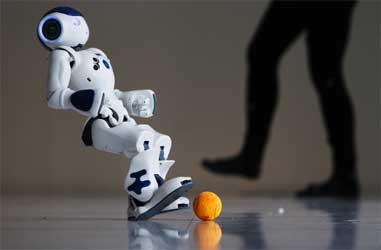 A robot showing off its skills.