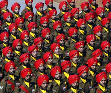 Indian Army soldiers marching at the Republic Day parade in New Delhi.