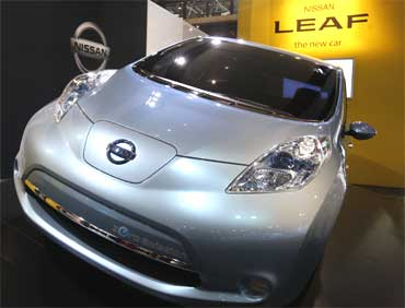 The Nissan Leaf is on display at the New York International Auto Show.