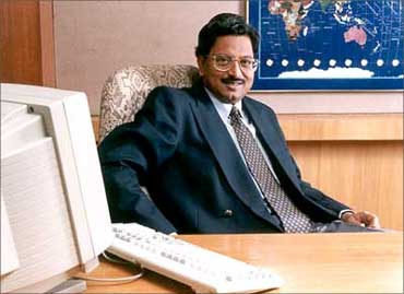 In happier times, B Ramalinga Raju, chairman, Satyam Computer Services, in his office in Hyderabad.