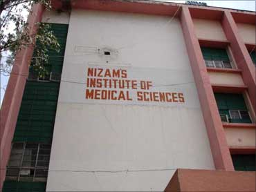 Raju admitted in Nizam's Institute of Medical Sciences.