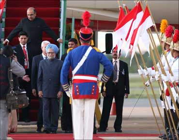 Prime Minister Manmohan Singh arrived in Brazil on Thursday.