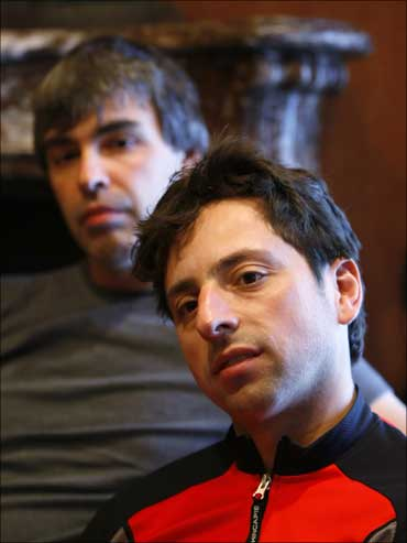 Google co-founders Larry Page (L) and Sergey Brin.