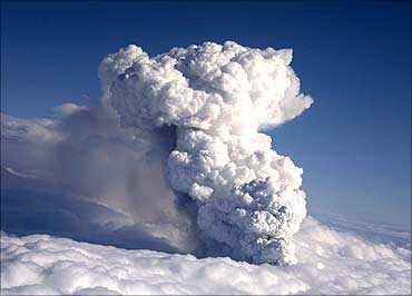 Smoke billows from a volcano in Eyjafjallajokull.