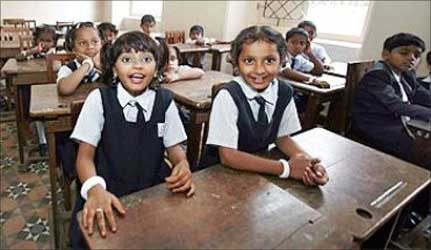 School children in a Mumbai suburb.