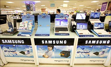 Samsung Electronics' computers at an electronics shop in Seoul.
