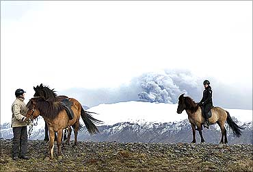 Stefanssdottir and Arnadottir ride their horses to take closer look at the erupting volcano.