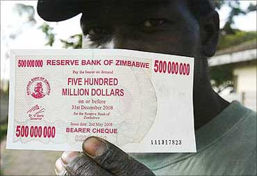 Inflation in Zimbabwe touched record heights.
