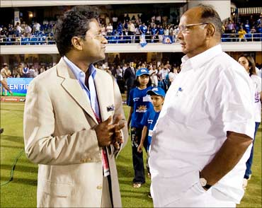 Lalit Modi and Sharad Pawar during the 2010 DLF Indian Premier League T20 group stage match.