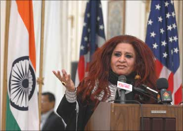 Shahnaz Husain speaking at the Presidential Entrepreneurial Summit in Washington.