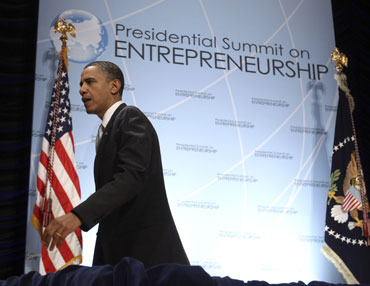 US President Barack Obama at the Entreprenerial Summit in Washington.