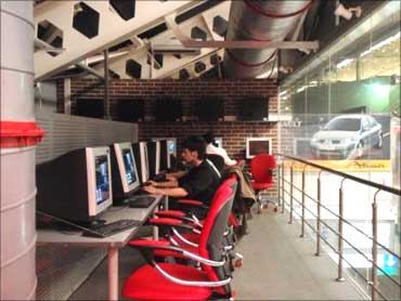 A cybercafe in Moscow.