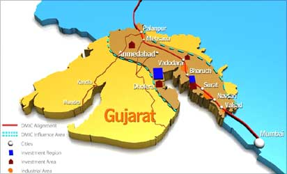 Delhi Mumbai Industrial Corridor through Gujarat.