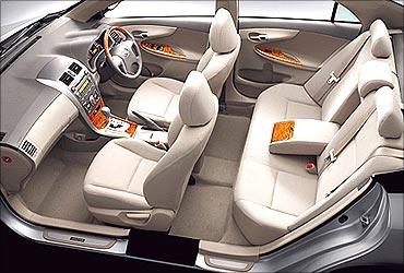 An interior view of Corolla Altis