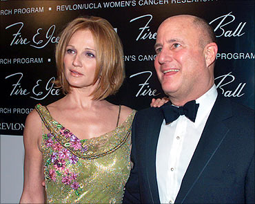 Actress Ellen Barkin and Revlon Cosmetics CEO Ronald O. Perelman.